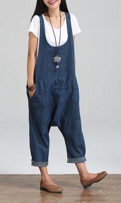 2017 New Denim Jumpsuits Casual Pocket Bib Denim low crotch Harlan Overalls Plus Size Jumpsuits Pants G033002 #Affiliate