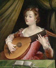 An Elgantly Dressed Lady Playing a Lute School-Fontainebleau c. 1550–1599 Oil on canvas, 96 x 80 cm. Private collection (?)