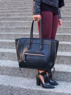H&M pants, Zara booties, Aldo tote