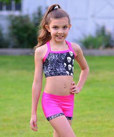 1f4032bc5a7a6d Black   Pink Skulls Crop Top   Shorts - Toddler   Girls Dance Gear