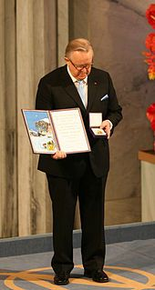 In 2008, President Ahtisaari receives his Nobel prize. President Ahtisaari wins Nobel Peace Prize