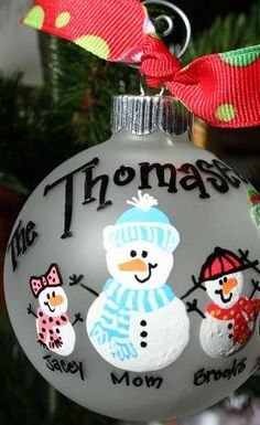 Snow Family Hand Painted Christmas Ornament by SassyPeasDesigns