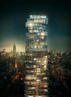 56 Leonard Street at night -  Herzog and de Meuron Architects