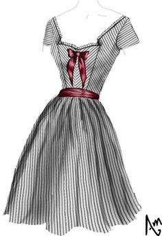 Black Striped Vintage Spring Dress by Amber Middaugh