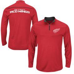 ff1432982d3 Detroit Red Wings Majestic Synthetic Quarter-Zip Fleece Jacket - Red Men s  Hockey