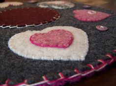 """Handmade 10"""" round Valentines Day reclaimed wool felt candle mat $30.00"""