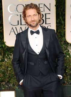 Gerard Butler on the red carpet of the 2012 Golden Globes.