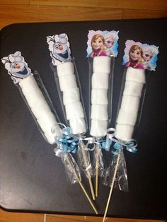 Frozen Disney Princesses Elsa, Anna and Olaf Birthday Party Marshmallow Favors