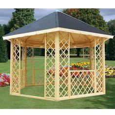 Kiosque gloriette hexagonale en bois diamètre 3.85m - Maison Facile : www.maison-facile.com