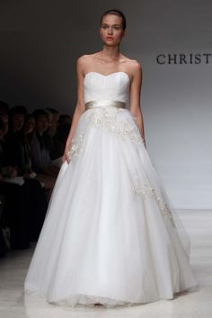Strapless Wedding Dress in A-line Shape and Silver Belt with Tiny Floral Details |  http://brideandbreakfast.ph/2011/11/18/fashion-friday-christos-aw-2012/ | Designer: Christos
