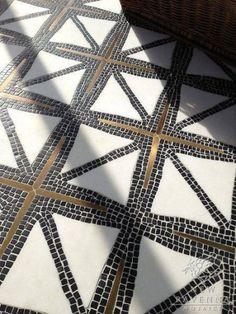 Indus, a stone water jet mosaic, shown in tumbled Nero Marquina, honed Thassos, and Bronze brushed. Designed by James Duncan for New Ravenna Mosaics. Mosaic Bathroom, Mosaic Backsplash, Mosaic Floors, Small Bathroom, Bathroom Black, Tile Floor, Ceramic Flooring, Stone Mosaic Tile, Mosaic Mirrors