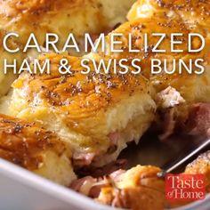 Caramelized Ham & Swiss Buns Recipe
