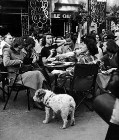 """fewthistle: """"American girls stopping for Cokes at Colisee Cafe, Paris. 1951. Photographer: Gordon Parks """""""