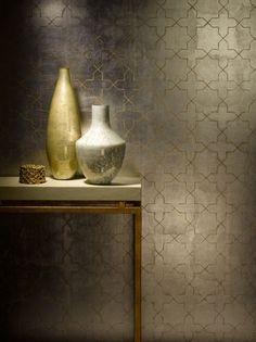 Moroccan gold grasscloth wallpaper by Phillip Jeffries Ps Wallpaper, Metallic Wallpaper, Art Deco, Art Nouveau, Wall Finishes, Marrakesh, Wall Treatments, Bauhaus, Decoration