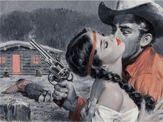 LU KIMMEL - Showdown Lover - item by fineart.ha My Favorite Image, Magazine Art, Raiders, Westerns, Illustration Art, Auction, Romance, Lovers, Tumblr