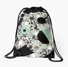 Terrazzo pattern design trendy drawstring bag. #funky #design #terrazzo #pattern #bag #backpack #bagpack #trendy #bag #gymbag #fashion #trend #memphis #80's #90's #unique #cool #hipster #trend #style #redbubble #redbubblecreate #5mmpaper @redbubble