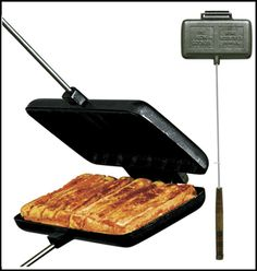 You would be amazed what you can make with a Double Pie Iron (Hobo Pie Maker). Make sure you purchase a cast iron model and prepare the surface as instructed. Cabelas carries a nice model for under $25.  We love how Totino Pizza Rolls come out! Camping Desserts, Camping Dishes, Camping Meals, Camping Recipes, Camping Cooking, Family Camping, Backpacking Recipes, Camping Tips, Camping Stuff