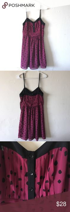 Printed Chiffon Dress Chiffon mini dress from Urban Outfitters. No stretch, size 0-4 recommended. Button detail at front, zipper at side, adjustable straps. Magenta and black print. Excellent condition. Urban Outfitters Dresses Mini