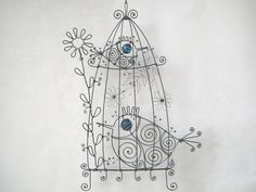 Wire BirdCage Sculpture With Birds In Blue And Turquoise