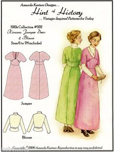 1910s Kimono Jumper Dress Blouse 6 24 Sewing Pattern Vtg Inspired Titanic Era | eBay
