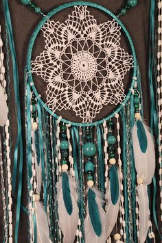 Turquoise Dreamcatcher Boho Dream Catcher Large crochet dreamcatcher gift wedding ceremony photo backdrop Dreamcatcher Bohemian handmade This amulet like Dreamcatcher - is not just a decoration of the interior. It is a powerful amulet, which is endowed with many properties: - Dreamcatcher protects and ensures a healthy sleep to the owner; Dreamcatcher helps in practice lucid dreaming. It helps to recognize himself in a dream, as well as protects from negative influences; Dreamcatcher help...
