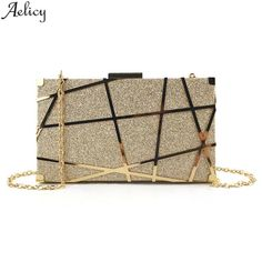 Aelicy Luxury Gold Evening Bag Women Party Banquet Glitter Bag Wedding Clutches Minaudiere Chain Shoulder Bag Bolsas Mujer - Allied Mall - Source by Wedding Clutch, Wedding Bag, Gold Handbags, Purses And Handbags, Sac Hermes Kelly, Sacs Design, Girls Bags, Party Bags, Chain Shoulder Bag