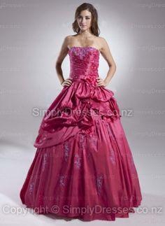 BallGown Strapless Taffeta Floor-length Fuchsia Appliques Quinceanera Dress at simplydresses.co.nz