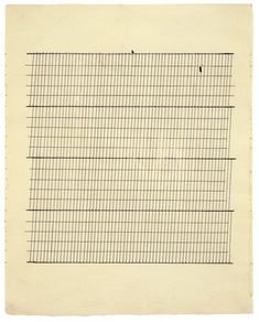 "Agnes Martin, ""Aspiration,"" 1960, ink on paper, 11 3/4 x 9 3/8 inches (29.8 x 23.8 cm) © 2012 Estate of Agnes Martin / Artists Rights Society (ARS), New York"