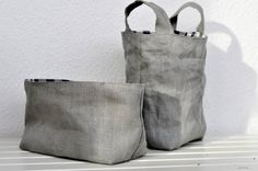 Set of 2 Eco friendly reversible baskets: BLUE check by Handmade Items, Handmade Gifts, Blue Check, Eco Friendly, Baskets, Reusable Tote Bags, Trending Outfits, Unique Jewelry, Grey