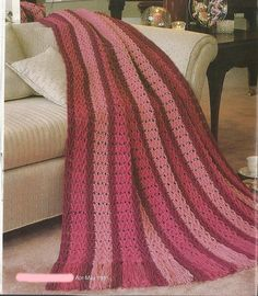 Zig Zag Stripes Afghan Crochet Pattern Blanket Throw Home Decor P-206 by PatternMania3 on Etsy