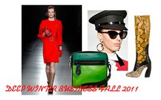 """DEEP WINTER BUSINESS FALL 2011"" by clairecoloursme ❤ liked on Polyvore featuring Prada, Atelier, Reed Krakoff, black, green, red, white and yellow"