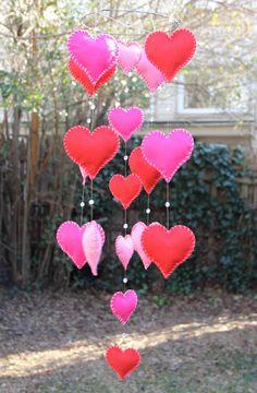 Heart Mobile with Glass beads Mobile por byAllySen en Etsy