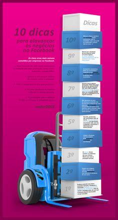 Infográfico com 10 Dicas para Alavancar os Negócios No Facebook.  Mais 5 Erros mais comuns cometidos por Empresas no Facebook.