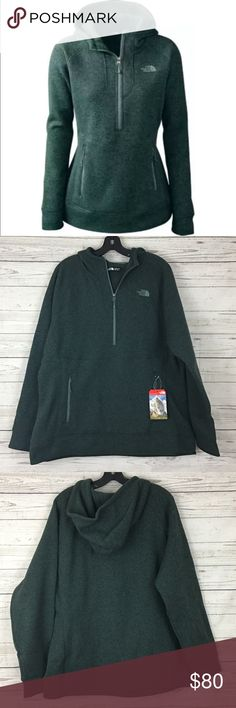 "NWT North Face 1/4 zip hoodie jacket green Brand new. 25"" armpit to armpit and 29"" long The North Face Jackets & Coats"