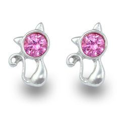 Exxotic Trendy Cat Theme Silver Pink AD Stud Earrings