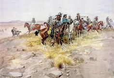 Cowboys - Charles Marion Russell (b. 1864, Oak Hill, Missouri - d. 1926, Great Falls, Montana), also known as C.M. Russell, was one of the great artists of the American West. Russell created more than 2,000 paintings of cowboys, Indians, and landscapes set in the Western United States, in addition to bronze sculptures. His mural entitled Lewis and Clark Meeting the Flathead Indians hangs in the state capitol building in Helena, Montana.