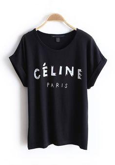 Black Letter Collarless Batwing Short Sleeve Cotton T-Shirt