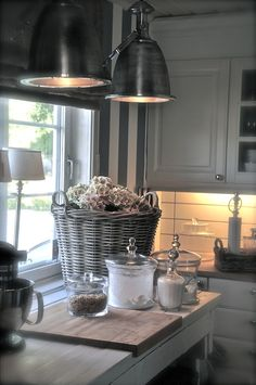Lamps, basket, jars...love this look
