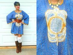 Vintage Blue and Gold Embroidered African by Enchantedfuture