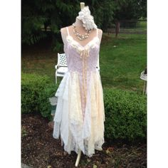 Woodland Wedding Dress Upcycled Romantic Fairytale Fantasy Pale Pink... ($115) ❤ liked on Polyvore featuring dresses, grey, women's clothing, cream dress, gray dress, slip dress, full length slip and pale pink dress