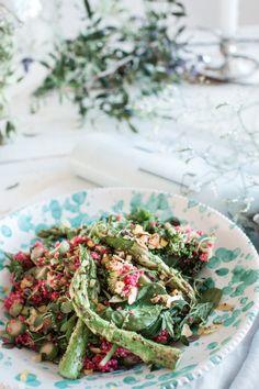 healthy asparagus, kale, beet salad