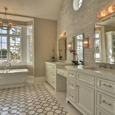 Master Bathroom with White And Gray Tile