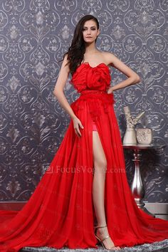 US $327.50 | Chiffon Scoop Cathedral Train Corset Prom Dress with Handmade Flowers