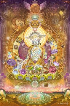 by Mugwort 60 by 90 inches 40 by 60 inches White Tara, or the Wish-Fulfilling Wheel represents compassion, longevity and serenity. Her seven eyes are symbolic of watchfulness and compassion.