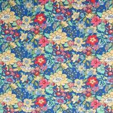 Cobalt Blue Floral Cotton Poplin Print