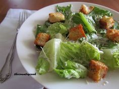 The Country Cook: Homemade Caesar Dressing & Homemade Croutons (and no chopping anchovies in this one! Homemade Caesar Salad Dressing, Dressing Recipe, Homemade Dressing, Best Meatloaf, Meatloaf Recipes, Beef Recipes, Salad Recipes, Healthy Recipes, Side Recipes