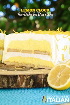 """Lemon Cloud No-Bake Ice Box Cake is a fun twist on a classic treat. This cake is light, bright and utterly luscious. It is bursting with lemon flavor and is prepped in just 25 minutes.  My favorite comment on this cake has been """"it tastes like a slice of sunshine"""". And that is does!"""
