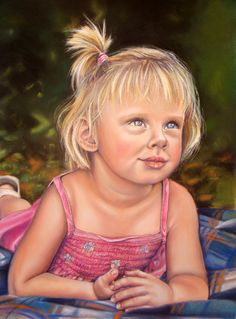 "Portrait Paintings ""Kirstin"": Realistic pastel portrait of my daughter. By Dominique Wilkins"