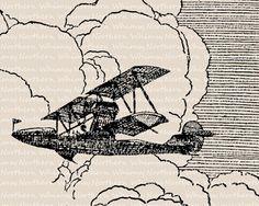 Vintage Airplane Clip Art - Aeroplane Illustration - Airplane Digital Stamp - Biplane Printable - history of flight - commercial use