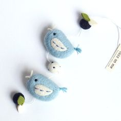 Felt+bird+garland++mini+FUZZ+2+bird+friends++blueberry+by+fuzzonme,+$29.00